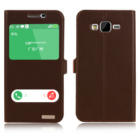Window Smart Cover Case For Samsung Galaxy J5 J500 J500F Natural Genuine Leather Magnet Flip Stand