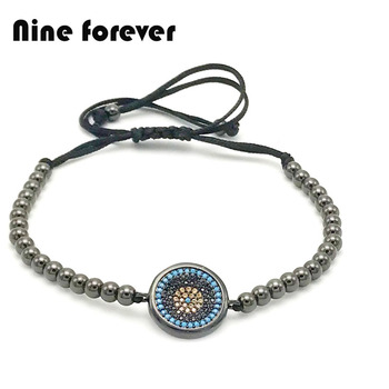 10 pcs /lot  Nine forever fashion men women Jewelry CZ Micro Turkey Eye design braided Bracelet