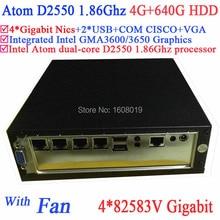 mini pc blu ray with fan Intel Atom dualcore D2550 1.86G 4*82583V Gigabit LAN Wake on LAN Watchdog 4G RAM 640G HDD Windows Linux