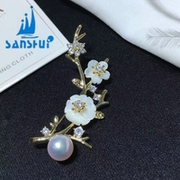 Sanshui jewellery Plum blossom three lane brooch pearl brooches accessories DIY joker semi finished products
