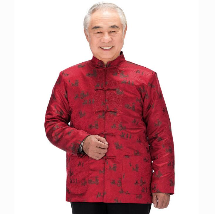 Long Sleeve Middle-aged Chinese Tunic Suit Mens Wadded Jacket Men Blazer Man Coats Mens Tang Suit Chinese Style Stand Collar Red