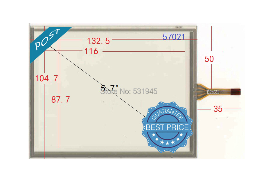 NEW 132*104mm 5.7 industrial Touch Screen Four Line Resistance Touch Screen Handwriting Screen POST