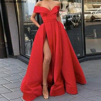 Red Evening Dresses 2020 Off The Shoulder A-line High Slit Satin Long Formal Dress Prom Dress Evening Gown Cheap Abendkleider casual off the shoulder sheath slit dress