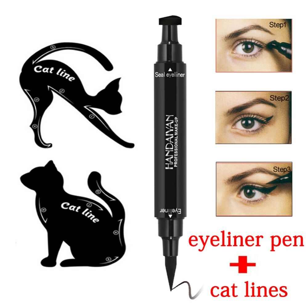 Dual Akhir Hitam Eyeliner Cair Pensil PRO Tahan Air Tahan Lama Makeup Eye Liner Pen + Cat Garis Mata Makeup Stensil #265322
