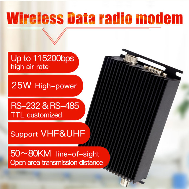115200bps 25W เครื่องรับส่งสัญญาณไร้สาย 433 MHz เครื่องส่งสัญญาณและตัวรับสัญญาณ RS232 & RS485 โมเด็มวิทยุยาวการสื่อสารไร้สาย