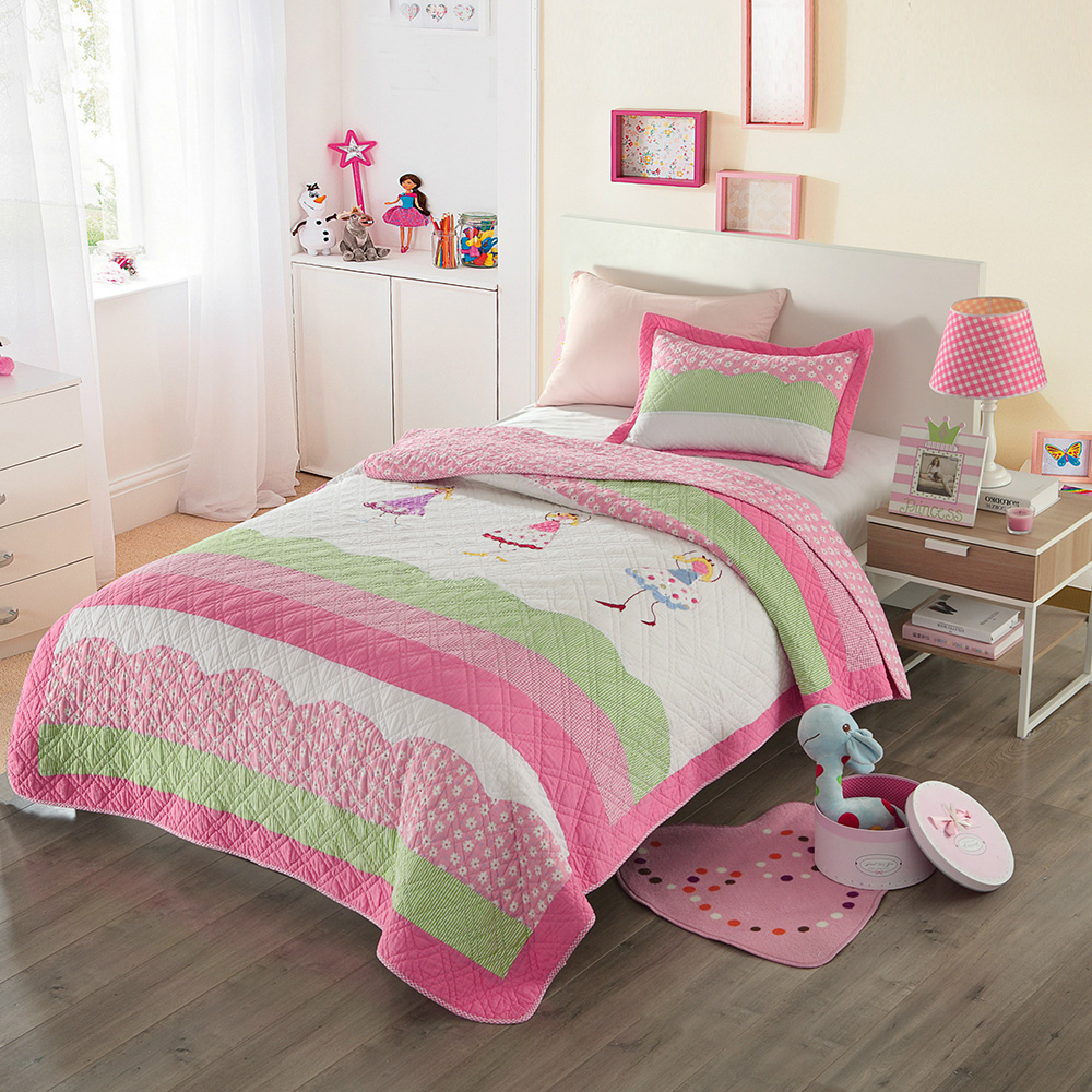CHAUSUB Pink Girls Bedspread Quilt Set 2pc Cotton Coverlet Bedding Handmade Applique Quilts Bed Sheets Twin Size 173x218 Blanket