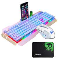 Wired Gaming Keyboard Mouse Combo Full Key LED Backlit USB Keyboard Mechanical Feel Waterproof Gamer Mouse with Moues Pad For PC