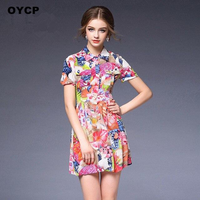 Oycp Women 100 Silk Dress Fashion Bohemian Colorful Flower Fl Parrot Print Las