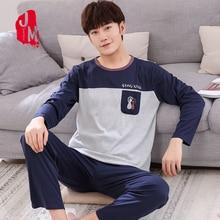 Winter Autumn Mens Pajamas 100%Cotton Letter Striped Cartoon Pajama Set Long-sleeve Casual Men Pyjamas Plus Size L-XXXXL Pijama
