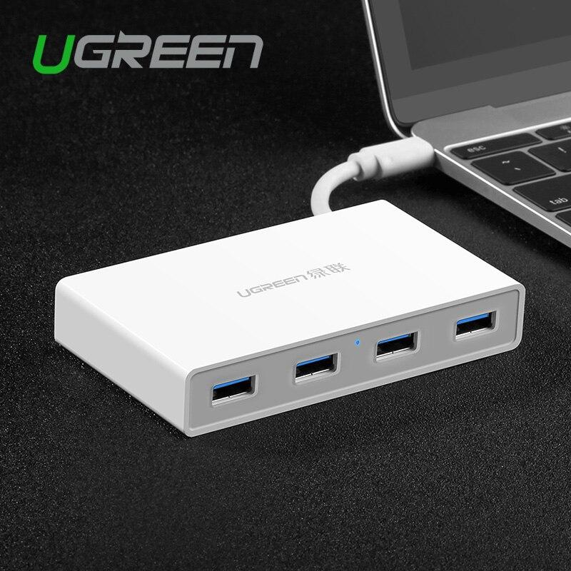 Prix pour Ugreen USB 3.0 Hub Type C 4 ports Haute Vitesse USB Splitter Avec Interface De Charge Pour Macbook PC Portable Tablet Ethernet USB Hub