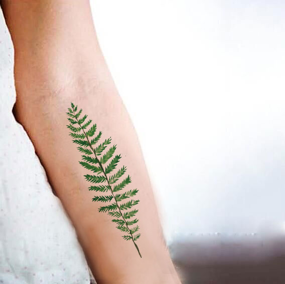 fc18c9a97f552 Waterproof Temporary Fake Tattoo Stickers Cool Green Plant Leaf Design Body  Art Make Up Tools