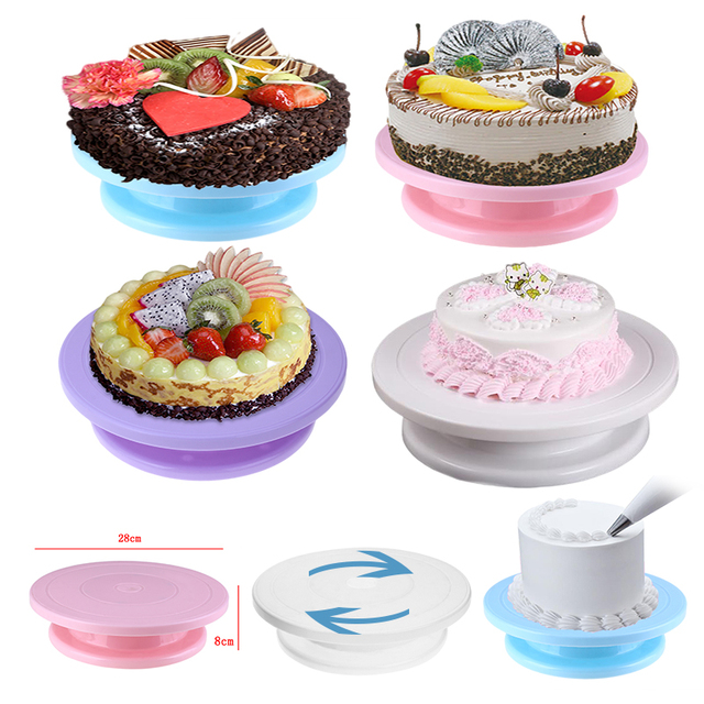 28cm Plastic Cake Turntable Cake Stand Rotating Cake Decorating Turntable Anti-skid Round Cake Stand Rotary Pan Kitchen Gadgets
