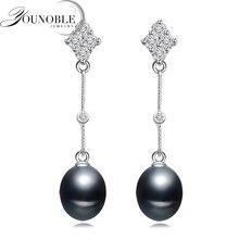 Fantastic 925 Sterling Silver Earrings Women,Romantic Long White Black Natural Freshwater Pearl Girl Gift