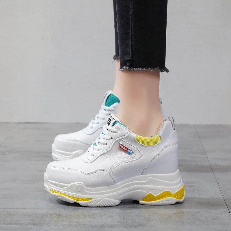 Women Platform High Sole Flats Shoes Spring Autumn Casual Shoes chunky Sneaker increaing wedges Walking Shoes zapatos de mujer in Women 39 s Flats from Shoes