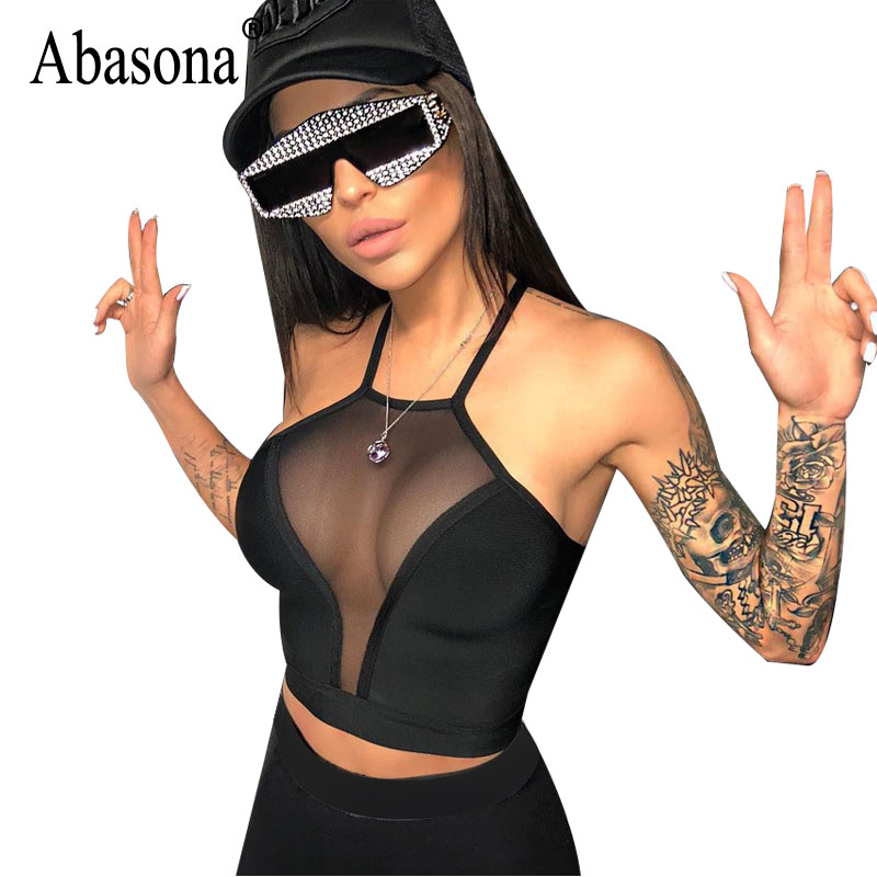 Abasona Sexy Mesh Top Summer Women Balck Short t Shirt Sleeveless Halter Tank Tops Women Streetwear Workout Crop Top