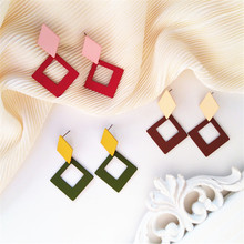 Earrings with simple geometry and colorful Grind arenaceous geometric large contracted exquisite fashion earrings