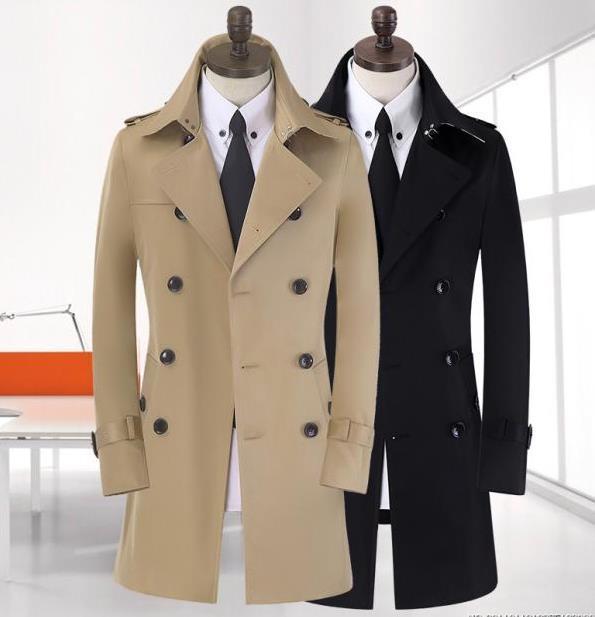 Moda américa mens longo casaco de trincheira magro dos homens de negócio casaco outerwear estilo britânico cáqui bege azul preto mais 9XL tamanho