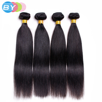 BY Pre-Colored Human Hair Weave #1B Natural Black Color 4 Bundles 8-26 inch Free Shipping Non-remy Hair Malaysian Straight Hair