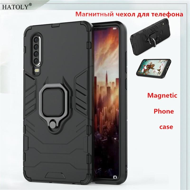 Huawei P30 Case Huawei P30 Back Cover TPU+ PC Magnetic Phone Case Cover Huawei P30 Finger Ring Case Capa Funda