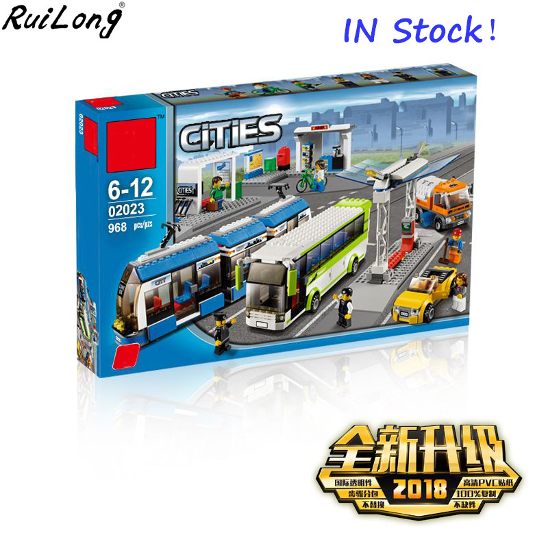 New City Serices Public Transport Station Set Compatible Legoings City 8404 Toys Building Bricks Blocks Bus Train Car Christmas цена