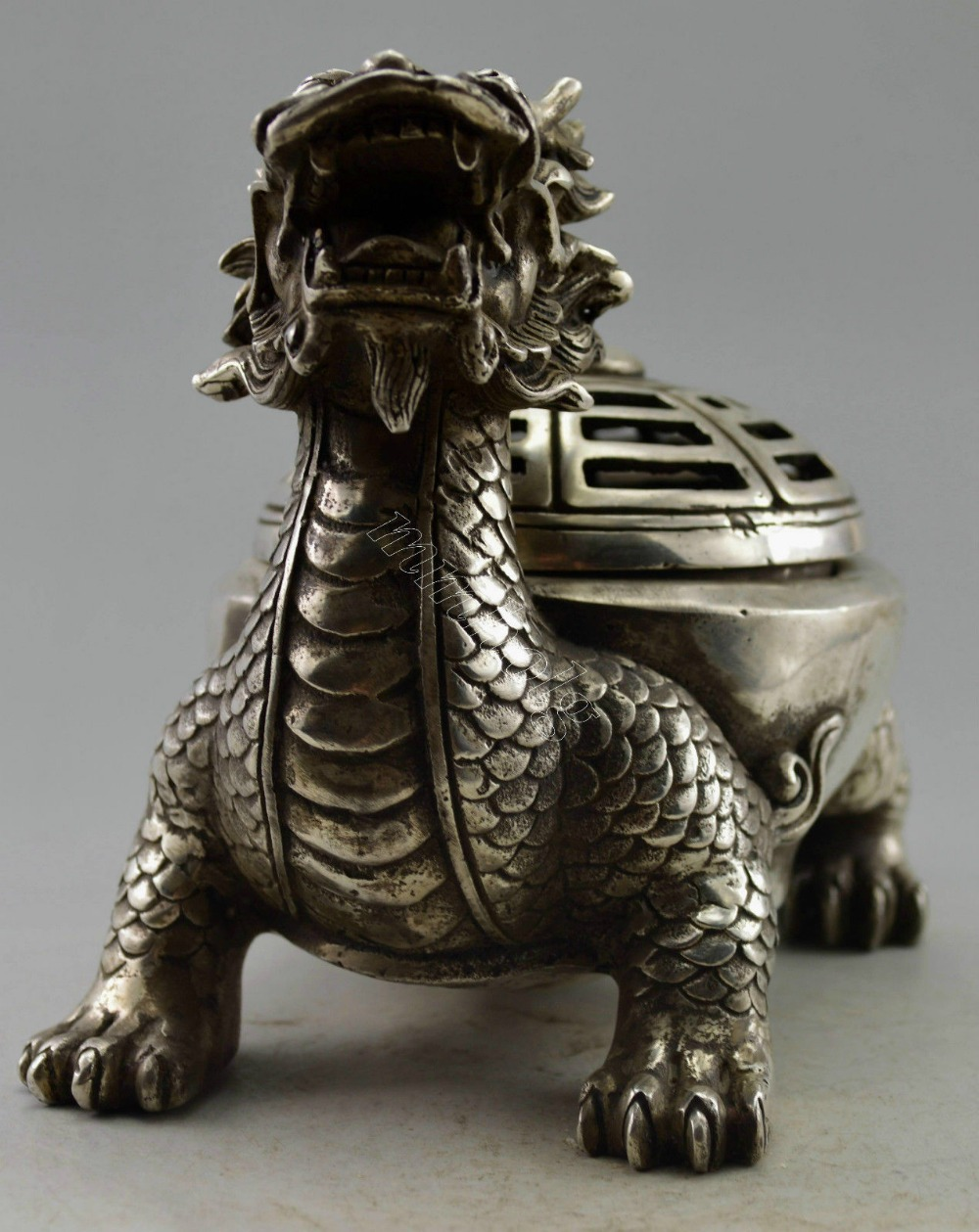 Brûleur d'encens en forme de Dragon argenté tibétain - 2