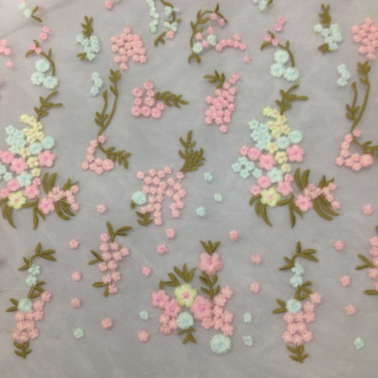Yards lot embroidered tulle organza lace fabric