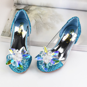 Детская обувь Золушки на высоком каблуке с кристаллами, прозрачные вечерние туфли принцессы с блестками для девочек, детское платье со стра...