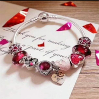 Fits Pandora Jewelry Glamour DIY Female Jewelry Gift Red Love Bracelet Sterling Silver 925