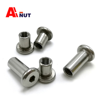 M8 flat nut female end 15mm 25mm, 304 stainless steel antirust furniture screw female end , ss304 furniture nuts
