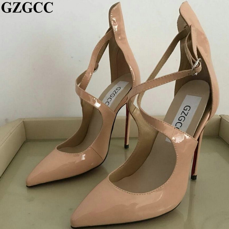 Ladies nude leather Cross Strap Ankle High Heels Pointed Toe shoes Sexy Thin Pumps Female-in Women's Pumps from Shoes    1