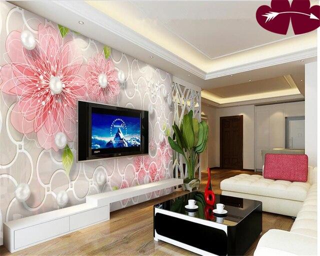 Beibehang Moderne 3D Stereo Premium Tapete Elegante Rosa Blume Verzierte  Perle TV Wand Hintergrund Papel De