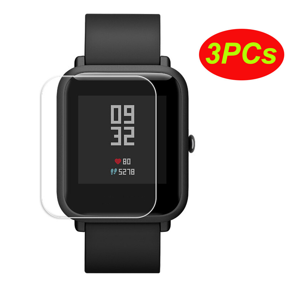3PCs Transparent Clear Screen Protective Film Waterproof Film For Huami Xiaomi Amazfit Bip Youth Watch Perfect Fit For Huami Q60