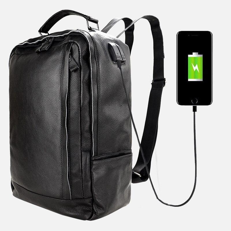 Hommes sac à dos Double sac à bandoulière affaires loisirs voyage Charge en cuir véritable imperméable à l'eau - 3