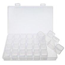 Clear Plastic 28 Slots Adjustable Jewelry Storage Box Case Craft Organizer Beads DIY Home Storage Tools