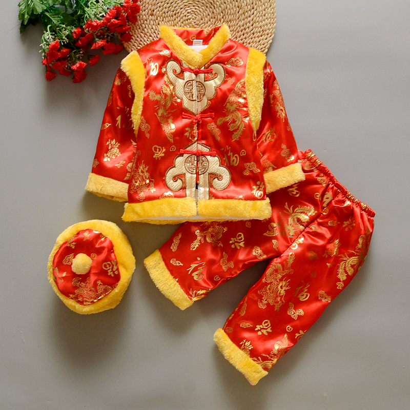 HI BLOOM Cotton Chinese Traditional New Year Clothes for 3-18 Months Baby Boy Winter Clothing Embroidery Tang Suit Thick Costume