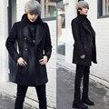 autumn Winter black 2013 Korean fashion Slim young man double-breasted woolen coat stand collar woolen jacket M/L/XL/XXL D2222