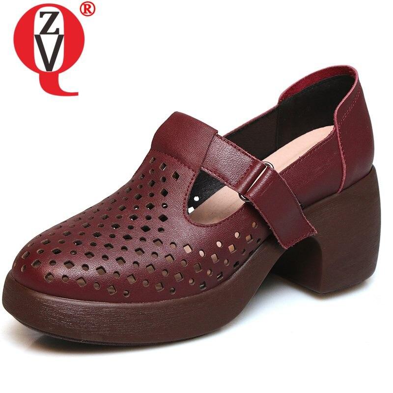 ZVQ retro lederen vrouw pompen hollow hoge hakken koele zomer wijn rood zwart verpleegkundige werk schoenen voorjaar lederen meisje mary jane schoenen