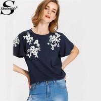 Sheinside Navy Embroidery T Shirts Sweet Floral Tee Women Flutter Sleeve O Neck Summer Tops 2017