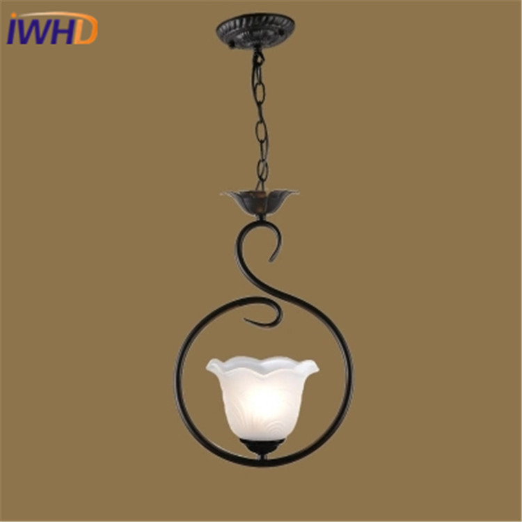 IWHD Glass Led Pendant Light Fixtures Modern Black Iron Hanging Lamp Dining Room Kitchen Restaurant Lamparas Home Lighting
