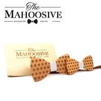 Mahoosive Wood Father Kids Tie Gravatas Corbatas Butterfly Cravat Party Gift Wooden Mens Children Bow Ties Wood box combo Set