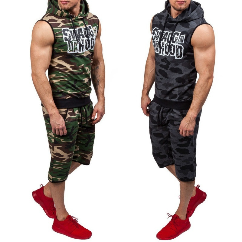 ZOGAA Fashion Hot Letter Printed Tethered Hooded Pullover Hooded Camouflage Sleeveless Mens Set Casual Sports Suit