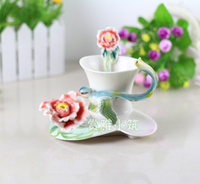 Hot Sale Fly Bird Coffee Cups With Saucer Tea Milk Cup Set with spoon Creative Ceramic Drinkware European Style Bone China Gifts