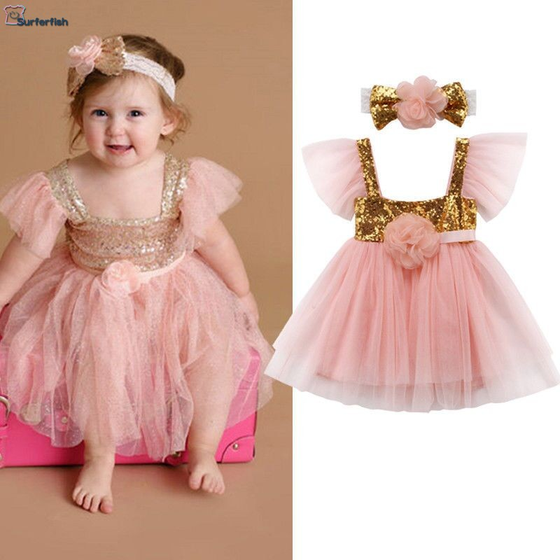 Drop Ship Tull NEW Baby Girls Infants Sequin Princess Dress with Head Wear Children Clothing Flowers Dress