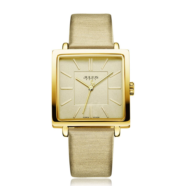 Square Shaped Watch With Leather Band