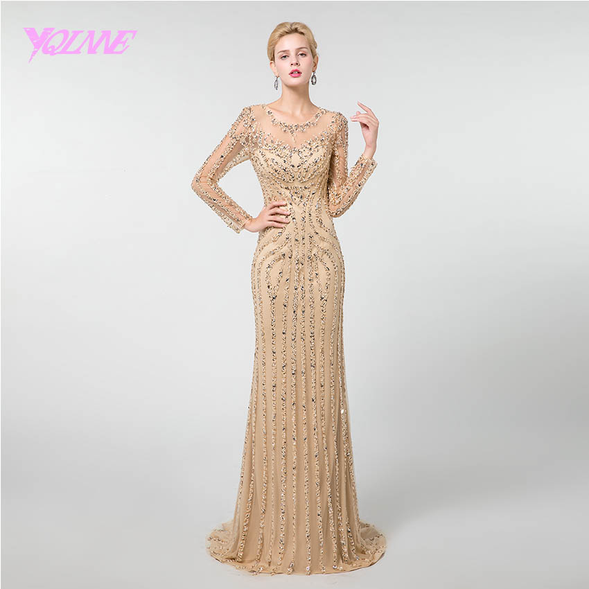 YQLNNE 2019 Gold Crystals Full Sleeve   Prom     Dresses   Long Beaded Formal Gown Vestido de Festa