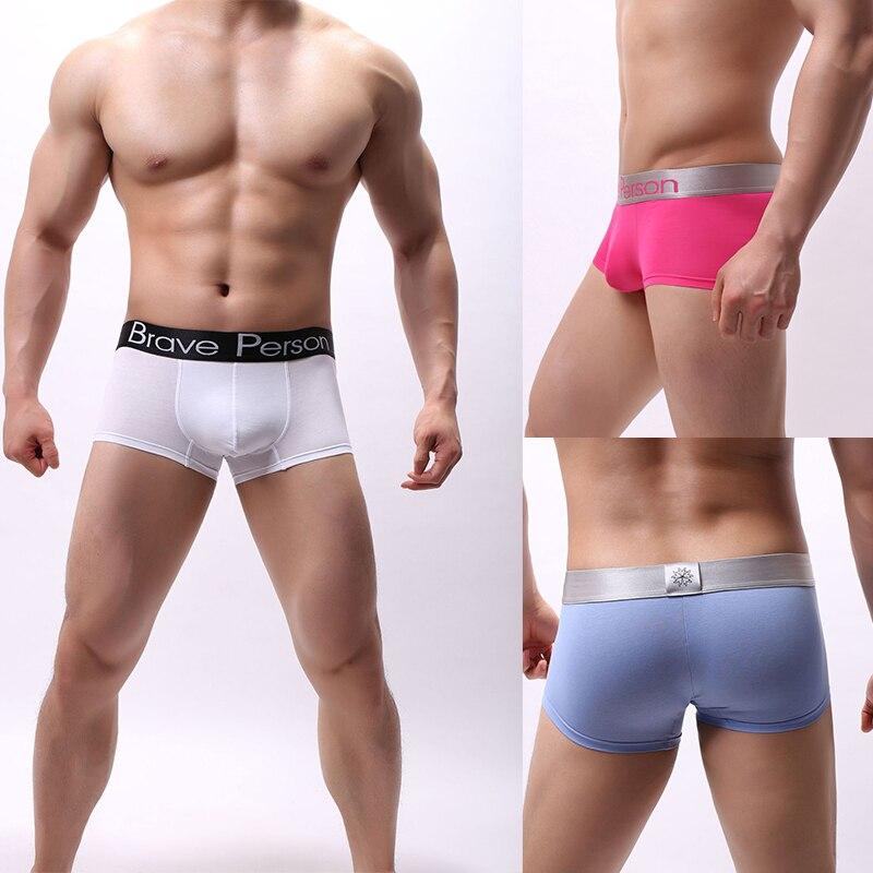 2019 New Arrival BRAVE PERSON Men's Soild Underwear Male Boxer Shorts Cotton Fashion Sexy Boxers Men Boxer Underpants