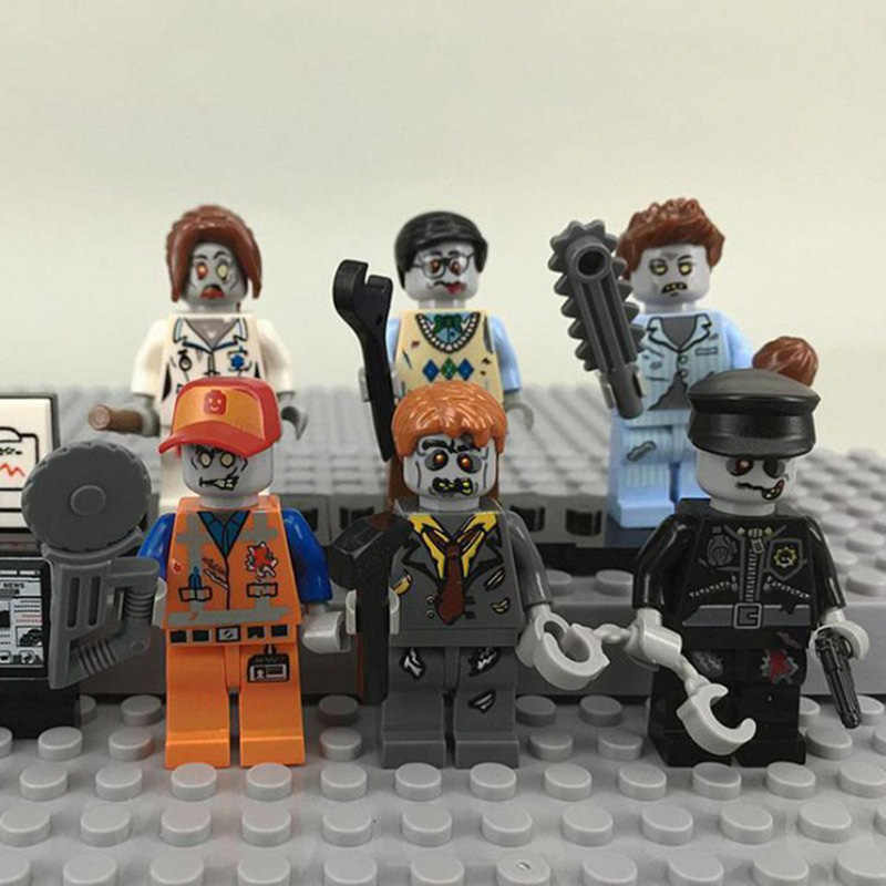 6pcs/set Decool Zombie Movie Action Figures Educational Building Toys For Boys Gifts Fit For Legoingly Bricks Minifigure