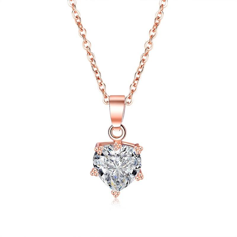 Realistisch 2019 Schmuck Rose Gold Farbe Halsketten Für Frauen Nette Damen Silber Farbe Cubic Zirkon Schlüsselbein Halsketten Anhänger Femme