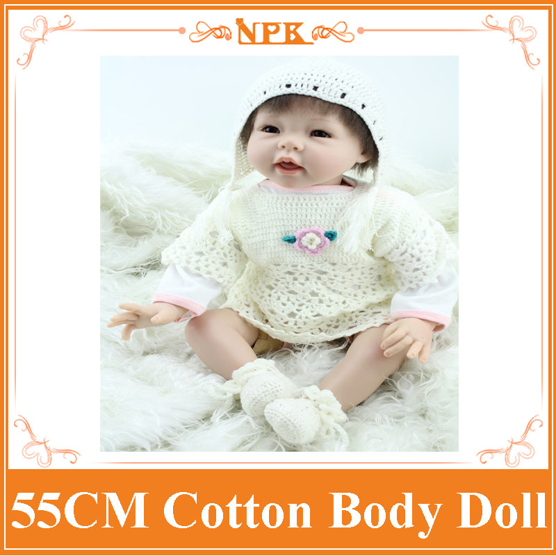 22Inch Dolls 55cm Silicone Baby Reborn Dolls With Cotton Body Dressed in White Sweater Lifelike Doll Reborn Babies Toys for Girl nights in white cotton