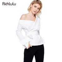 RichLuLu Sólido Blanco Hombro Camisas Sexy Mujeres Asimétrica Faja de Encaje-up Paquete Arco Tops Señora Blusas OL Commuting femenino